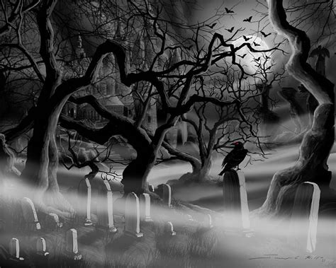 castle graveyard i painting by james christopher hill