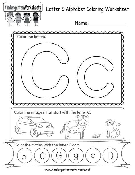 letter c worksheets letter c coloring worksheet free kindergarten 1357