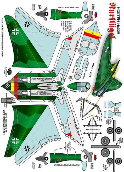 Airplane Papercraft - horten ho 229 fiddlers green paper models