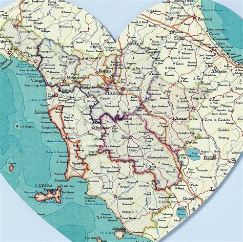 printable map tuscany tuscany map heart print by bombus off the peg