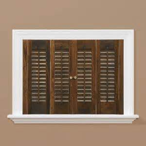 home depot interior shutters homebasics traditional real wood walnut interior shutter price varies by size qstd3536 the