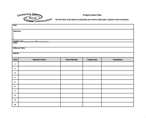 project action plan template 9 download documents in