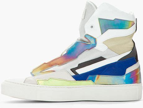 raf simons holographic space sneakers raf simons white blue leather holographic space sneakers