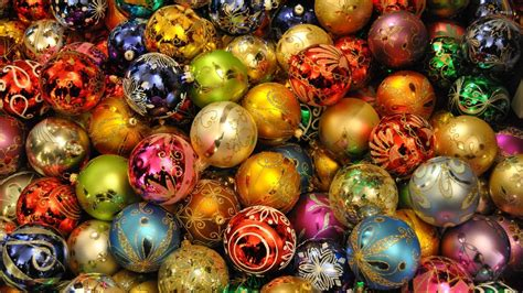 Colorful Baubles by Lights Reflecting In The Colorful Baubles