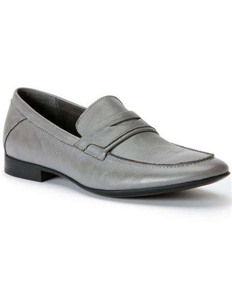 grey loafers for calvin klein olin loafers in gray for lyst