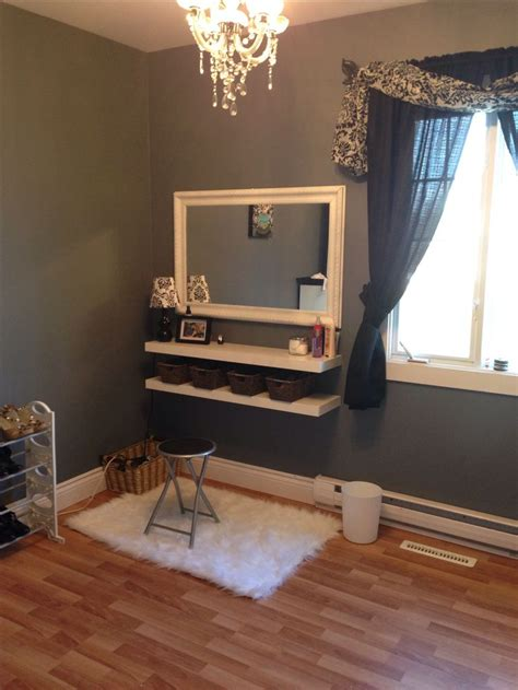 Diy Floating Vanity by Two Floating Shelves Four Baskets Yard Sale Mirror Painted White Makeup Vanity I