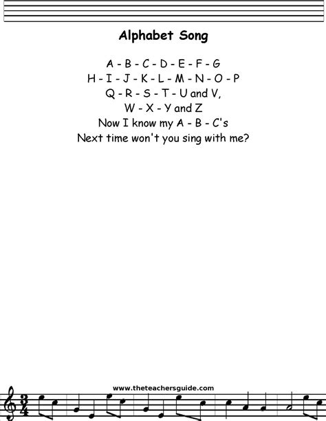 Letter Song Lyrics Alphabet Song Lyrics Printout Midi And