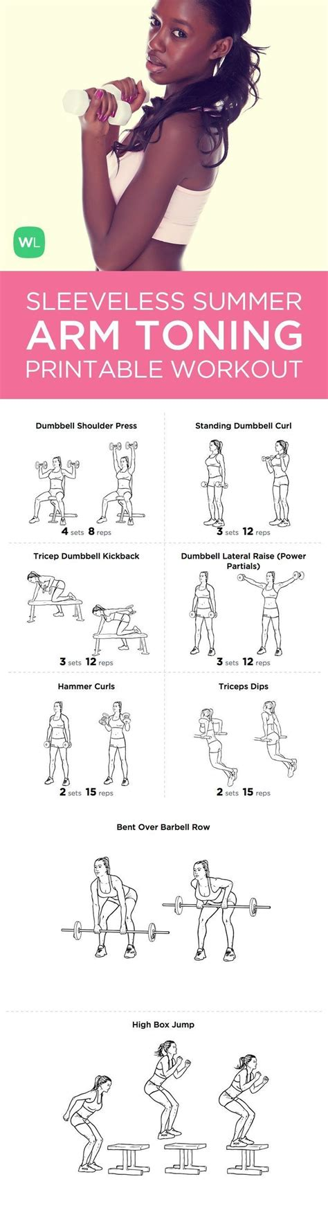 printable workout plan to lose weight and tone up 15 minute summer sleeveless arms toning printable workout