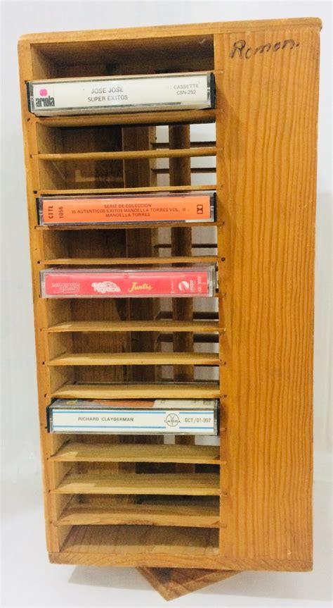 porta cassette porta cassette de audio giratorio de madera usado 43cm