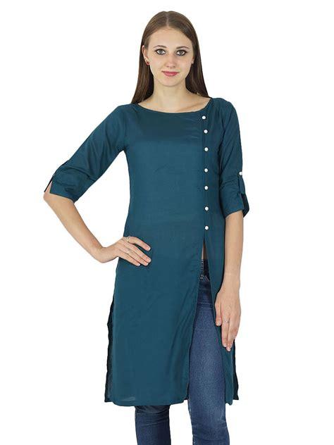 design dress tops designer indian bollywood kurta women cotton solid kurti