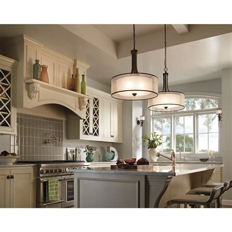 kitchen of light kichler 20 inch double drum pendant shade 42385miz