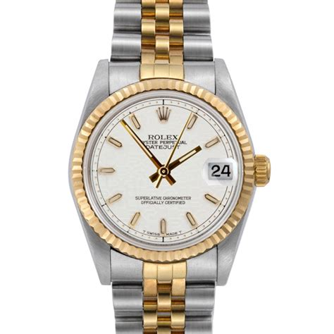Rolex Ladies Watch white porcelain dial with 18k Gold