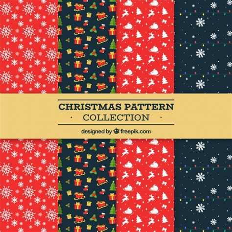 christmas pattern ai christmas pattern collection in red and black vector