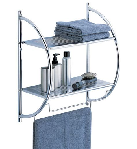 Bathroom Shelves Chrome Chrome Bathroom Shelf With Towel Bars In Bathroom Shelves