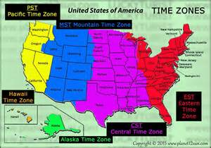united states time map time zones