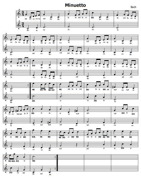 minuetto testo musica e spartiti gratis per flauto dolce minuetto di