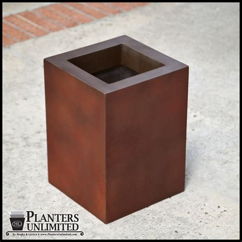 corten steel planters square rusted steel planters weathering finish