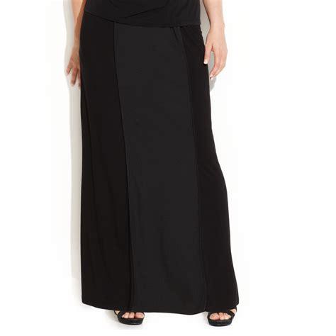calvin klein plus size mixedmedia maxi skirt in black lyst