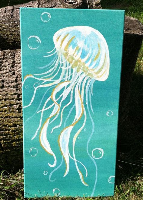 acrylic painting jellyfish jellyfish painting acrylic on canvas 12x24 by