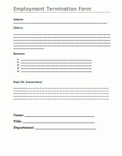 Termination Of Employment Form Template by Employment Termination Form Az Word Templates And Forms