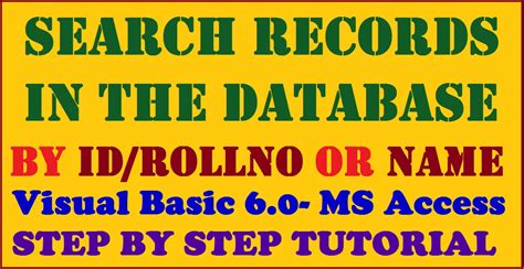 Search Records By Name Search Records In Database By Name Or Id Visual Basic6 0 Ms Access Step By Step