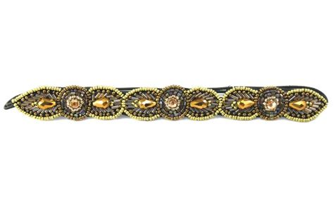 stretchy beaded headbands pink pewter quot quot gold tone beaded headband
