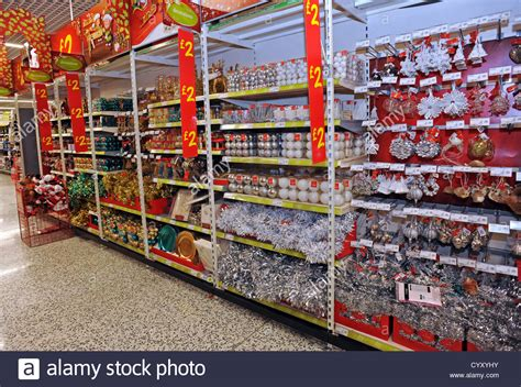 christmas decorations on sale in asda stock photo royalty