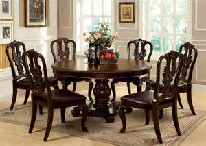 Round Formal Dining Room Sets Bellagio Brown Cherry Round Pedestal Dining Room Set From