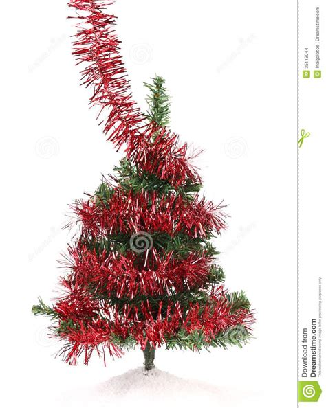 christmas tree wrapped in tinsel stock images image