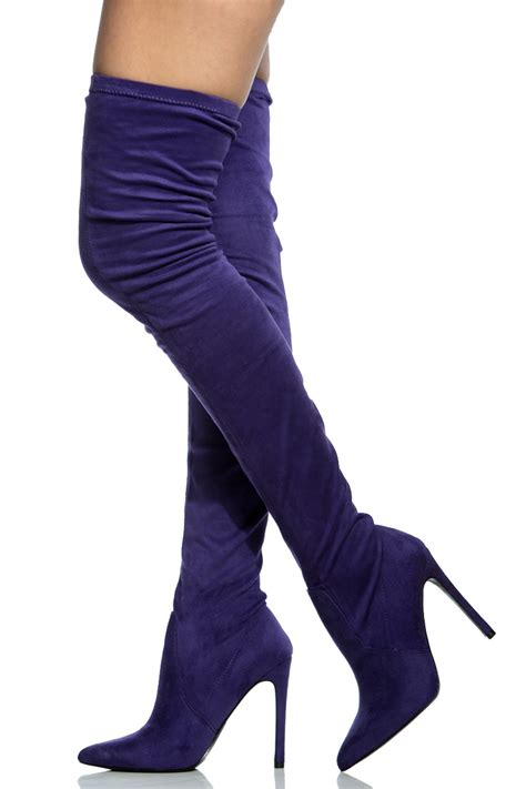 purple faux suede thigh high pointed toe boots cicihot