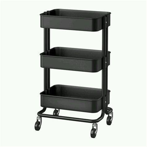 ikea rolling cart kitchen cart utility black shelves 3 steel rolling casters