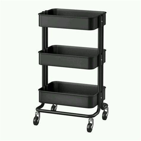 Kitchen Cart Utility Black Shelves 3 Steel Rolling Casters