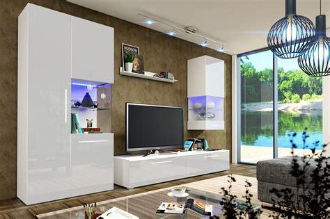wohnzimmerwand design designer wohnwand nicea iii hochglanz mit led