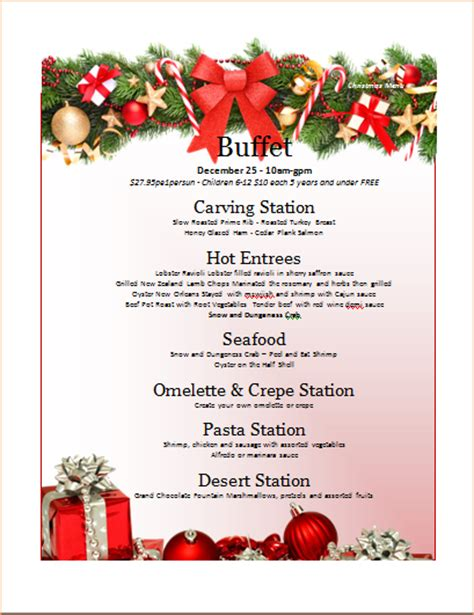 7 christmas menu templates procedure template sle