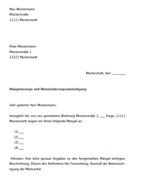 Muster Schreiben An Mieter Vertrag Vorlage Digitaldrucke De M 228 Ngelanzeige Und Mietminderungsank 252 Ndigung Mieter