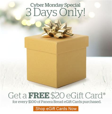 Panera Bread Gift Card - panera buy 100 in e gift cards get a 20 bonus shopportunist
