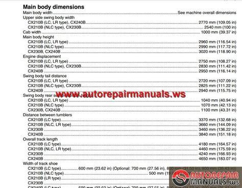 Auto Repair Manuals Case Crawler Excavator Cx210b Cx230b