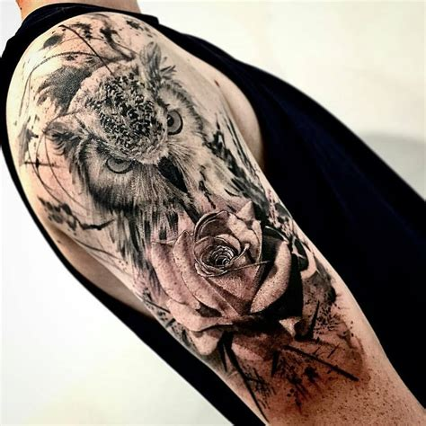 rose and owl tattoo 80 coolest 3d owl design ideas soosnap
