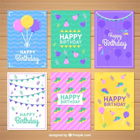happy birthday flat design set of colorful birthday cards in flat design vector