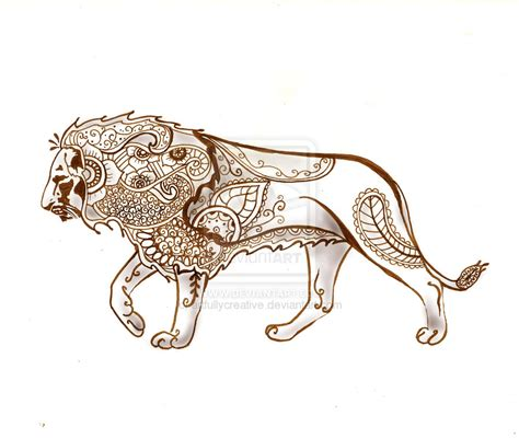 henna lion tattoo henna by artfullycreative on deviantart