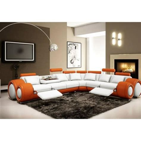canape d angle orange canap 201 d angle cuir orange et blanc relax achat