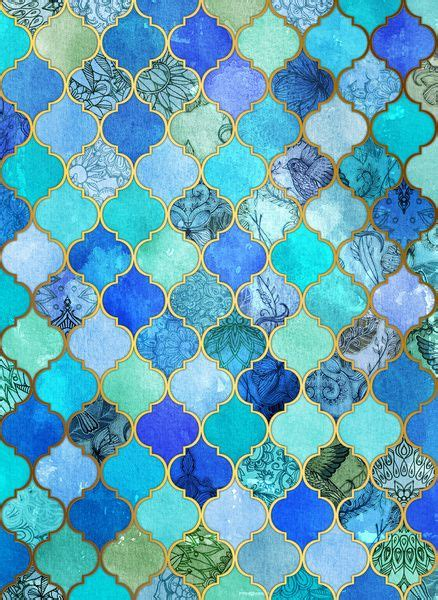 design pattern helper cobalt blue aqua gold decorative moroccan tile pattern
