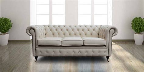 Ivory Leather Essex Chesterfield 3 Seater Sofa Leather Sofas Essex