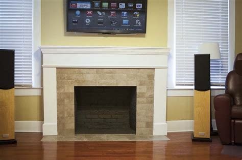 Renovating With a Tile Over Brick Fireplace Design