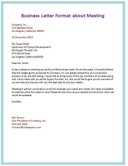 business letter format where to put email address 6 sles of business letter format to write a letter
