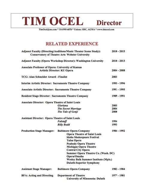 production stage manager resume template resumes design