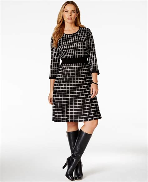 geo patterned jersey dress spense plus size geo patterned sweater dress in black