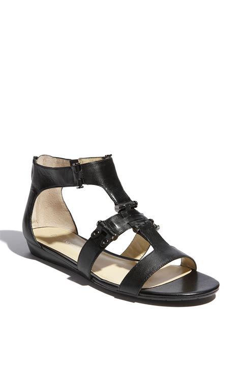 enzo angiolini sandals enzo angiolini yoshi flat sandal in black black leather