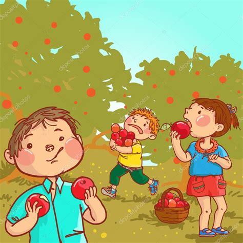 imagenes niños sembrando 사과 수확 하는 아이 들 스톡 벡터 169 kimazo 69105619