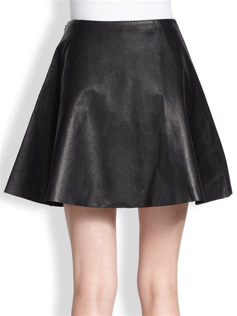 kate spade new york leather circle skirt in black lyst